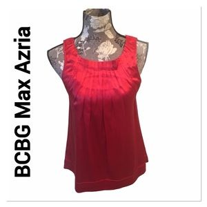 BCBG MAX AZRIA Red Pleated Silk Blouse size XXS